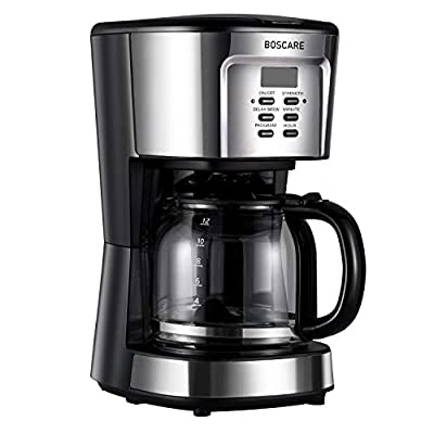 BOSCARE programmable coffee maker,12 Cup Drip Coffee Brewer, Coffee Machine with Auto Shut-off,Strength Control,Silver Black by BOSCARE