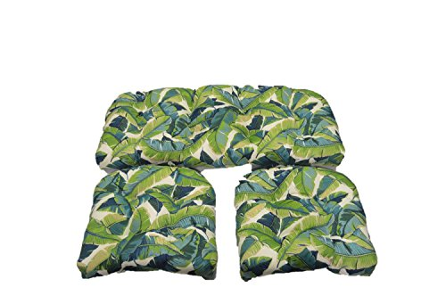 Resort Spa Home Decor RSH Décor Balmoral Opal - Cancun Blue and Kiwi Green Tropical Palm Leaf Cushions for Wicker Loveseat Settee & 2 Matching Chair Cushions