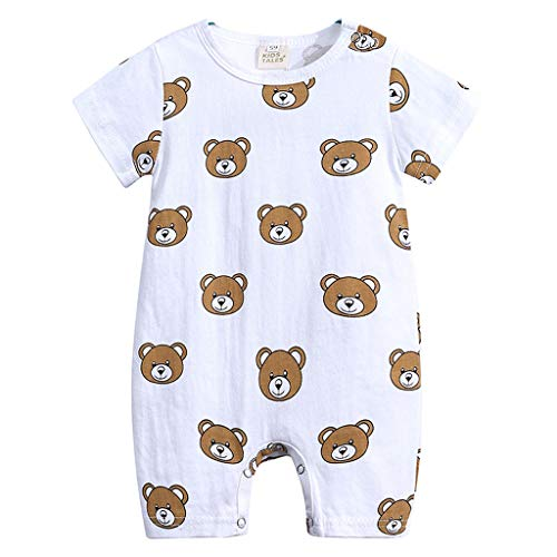 New in Respctful✿Baby Boy Girl Animal PrinShort Sleeve Romper One-Piece Bodysuit Jumpsuit Outfits Brown