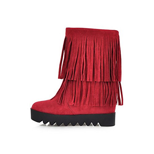 Women's Solid Imitated High Low Red Closed Toe Allhqfashion Suede Boots top Round Heels TZqxpdwa