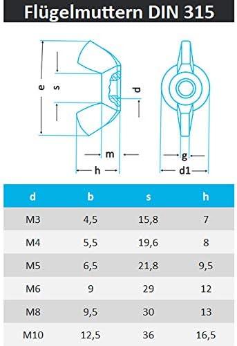 PROTECH 10 St/ück Fl/ügelmuttern M5 /ähnl Amerikanische Form Mutter DIN 315 rostfrei Edelstahl A2 V2A