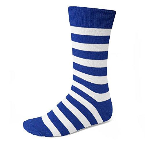 Men's Royal Blue and White Striped Socks - stylishcombatboots.com