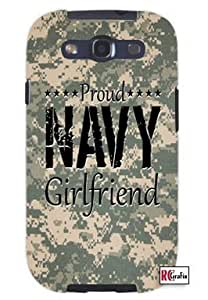 Proud Navy Girlfriend United States USA Camo Unique Quality Hard Snap On Case for Samsung Galaxy S3 SIII i9300 (WHITE)