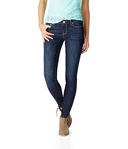 Aeropostale Women's Low-Rise Skinny Jean 16 R Dark (Aeropostale Skinny Jeans)
