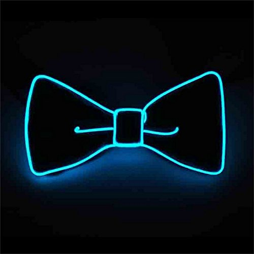Pajarita luminosa neón con luces led azul agua