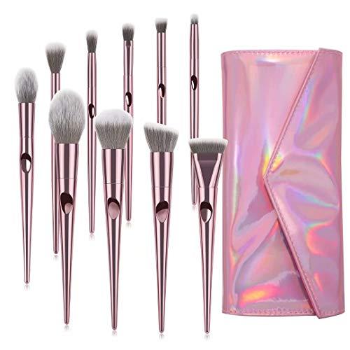 Makeup Brushes, ITME Premium Professional Makeup Brush Set With Purse,10 PCS Synthetic Cosmetics Makeup Brushes For Foundation Blending Blush Powder Blush Concealers Eye Shadows Brushes (Rose Gold)