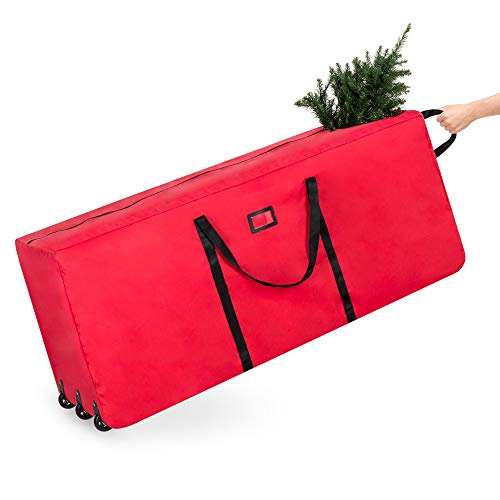 (Best Choice Products Rolling Duffel Holiday Decoration Storage Bag for 9ft Christmas Tree w/Wheels, Handle - Red)