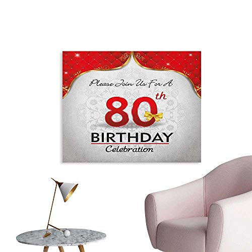 Anzhutwelve 80th Birthday Wall Paper Birthday Party Invitation with Abstract Floral Backdrop Elderly Poster Print Red Silver and Golden W28 -