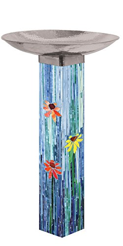 Studio M BB1002 Bird Bath Art Pole, Mosaic Watercolor