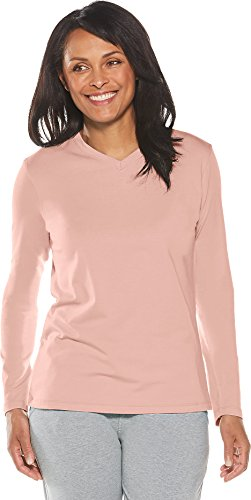 Scarf Dog Clothing - Coolibar UPF 50+ Women's Everyday V-Neck T-Shirt - Sun Protective (Small- Light Rose)