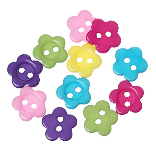 DoreenBeads Resin Sewing Button Scrapbooking Flower Mixed Two Holes 10.5mm( 3/8