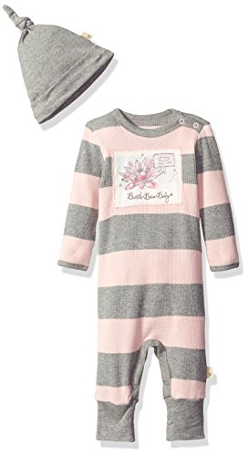 Burt's Bees Baby Girls' Organic Convertible Foot Coverall and Knot Top Hat Set, Blossom Thermal, 3-6 Months