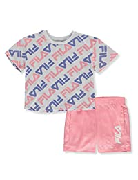 Fila Girls' Allover Logo Crop Top and Shorts 2-Piece Set Outfit
