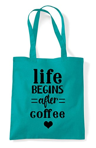 Tote Emerald After Begins Shopper Bag Life Statement Coffee wI4zPq