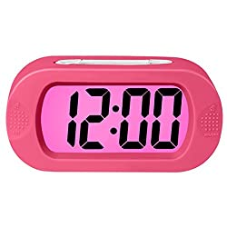 ZHPUAT Colorful Light Digital Alarm Clock with Snooze, Simple Setting, Progressive Alarm, Battery Operated, Shockproof, The Ideal Gift Clock For Kids & Convenient for Travel (Pink)