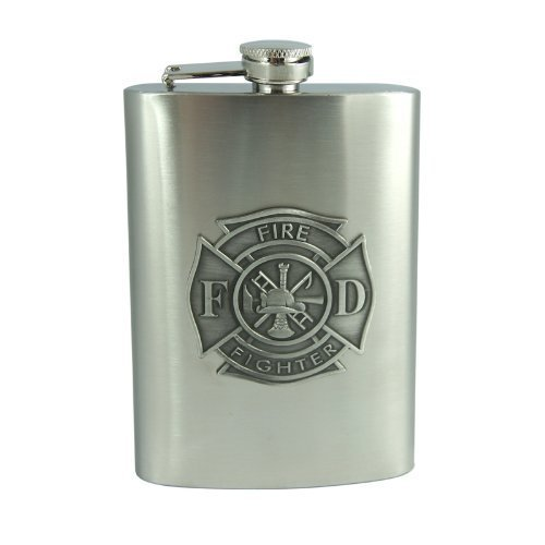 Top Shelf Fire Fighter Emblem Flask by Top Shelf, 8 oz.