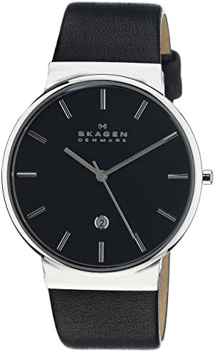 Skagen Men s Ancher Stainless Steel and Leather Quartz Watch