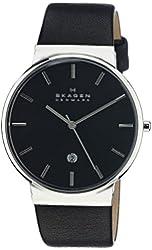 Skagen Men's SKW6104 Ancher Quartz 3 Hand Date Stainless Steel Black Watch With Black Leather Band