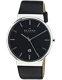 Men's Ancher Quartz Stainless Steel and leather Watch Color: Silver, Black (Model: SKW6104)