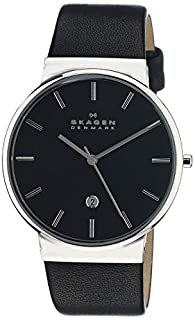 Skagen Men's Ancher Quartz Stainless Steel and Leather Watch Color: Silver, Black (Model: SKW6104) (B00KNQWTOQ) | Amazon Products