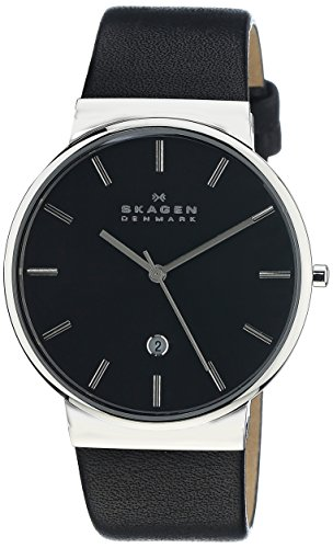 Skagen Men's Ancher Quartz Stainless Steel and leather Watch Color: Silver, Black (Model: SKW6104)