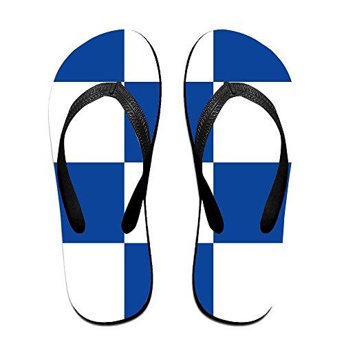 Unisexe Bleu Et Blanc Grilles Été Sangle Tongs Plage Chaussons Plates-formes Sandales Pour Hommes Femmes Noir