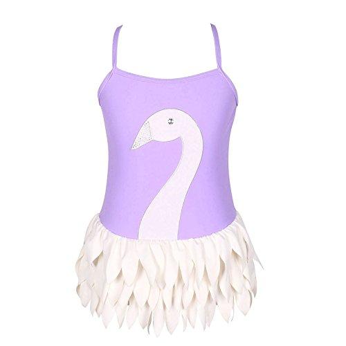 Qyqkfly Girl Swan Adjustable Strap Cross Back One Piece Swimsuit(FBA) (4, Purple)