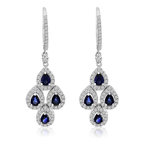 1.60 Carat (ctw) 14k White Gold Pear Blue Sapphire and Diamond Teardrop Chandelier Dangle Earrings with Post with Snap Down (5 x 3 MM) (14k Diamond Chandelier Earrings)