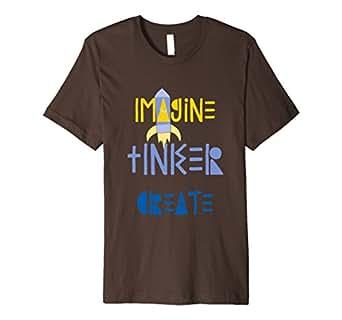 Mens Imagine, Tinker, Create shirt for kids 2XL Brown