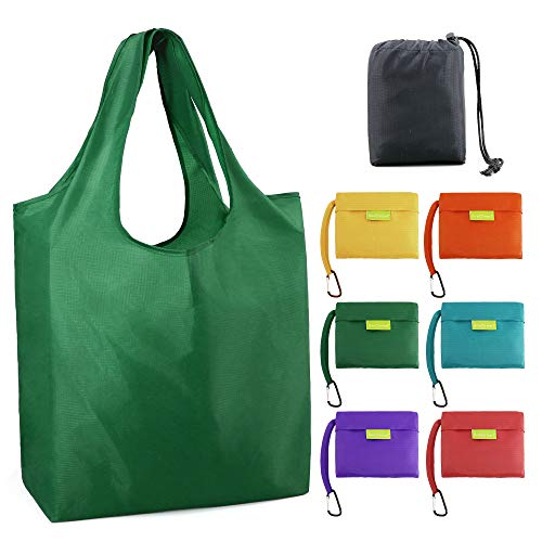 (Foldable-Grocery-Bag-Reusable-Tote-Bags Large 50LBS Reusable Shopping Bag Folding Grocery Bags with Pouch Bulk 6 Pack Ripstop Fabric Washable Durable Lightweight Green Teal Yellow Orange Red Purple )