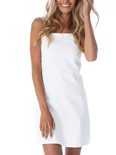Simplee Womnen's Summer Casual Hollow out Plain Strap Bodycon Mini Dress ,White,4/6
