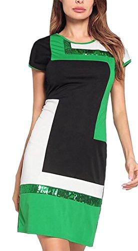 Jaycargogo Femmes Manches Courtes Équipage Mode Cou Imprimé Géométrique Mini Moulante Vert Robe
