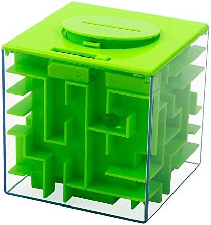 Geefia Money Maze Box for Kids and Adults, Gift Puzzle Box Money Holder and Brain Teasers - A Fun and Inexpensive Game Challenge for Children Birthday (Green)