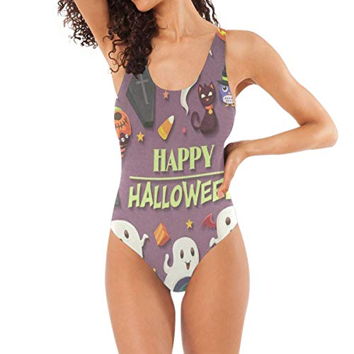 Women One Piece Swimsuit Vintage Halloween with Ghost High Cut Low Back Backless Beach Bathing Suits -