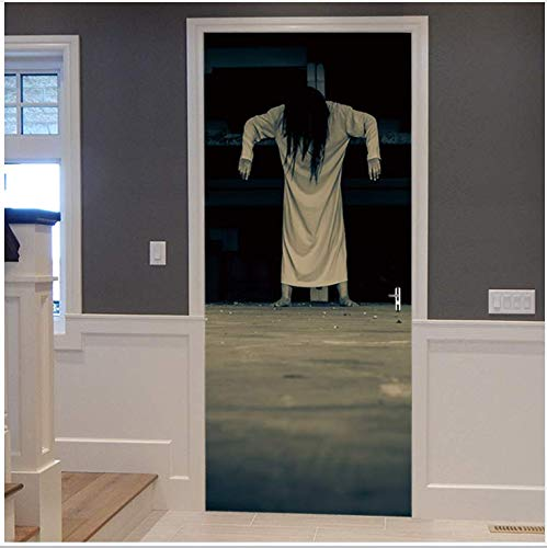 Scary Japanese Woman Ghost Halloween Decoration 3D View Wall Door Sticker Home Decor Mural -