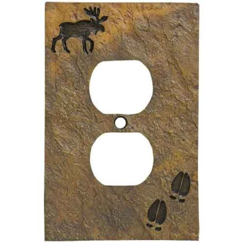 Moose Switch Cover Light (Big Sky Carvers 30170443 Moose and Tracks Single Outlet Cover)