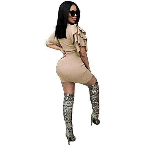 Kurzarm Rüschensaum Volant Rüschen Saum Mini Minikleid Bodycon Etui Etuikleid Figurbetontes Kleid Aprikose bKWQz1lEr
