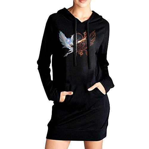 [VHF Women's Luminous Male Hooded Sweatshirt Pockets Hoodie Dress Black Size M] (Welcome To The Black Parade Costume)