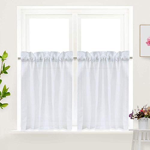 IDEALHOUSE White Tier Curtains,Waffle Woven Textured Short Window Curtain for Cafe,Bathroom,Kitchen & Kids Bedroom Rod Pocket Curtains (2 Panels, 30Inch Wide by 36Inch Long)