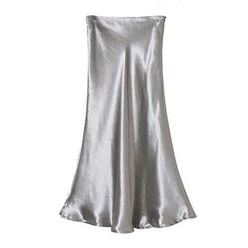 MoMo Summer Glossy Satin Trumpet High Waist Skirt Silver Gold Long Skirt Metallic Color Party Skirt,Silver,L ()