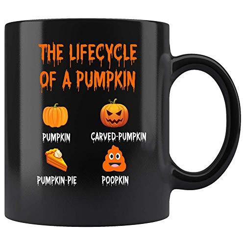 Coffee Mug Life Cycle of A Pumpkin Thanksgiving Coffee Mug Halloween Gifts Ceramic (Black, 11 OZ)