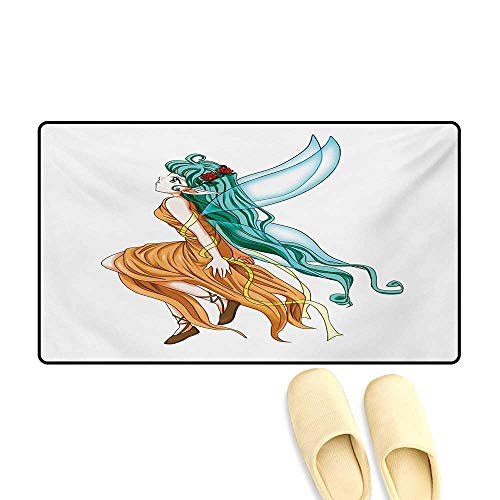 Bath Mat,Pixie Girl Caricature with a Long Green Hair and Wings Fantasy Elf,Door Mats for Inside,Ginger Sea Green and Aqua,16
