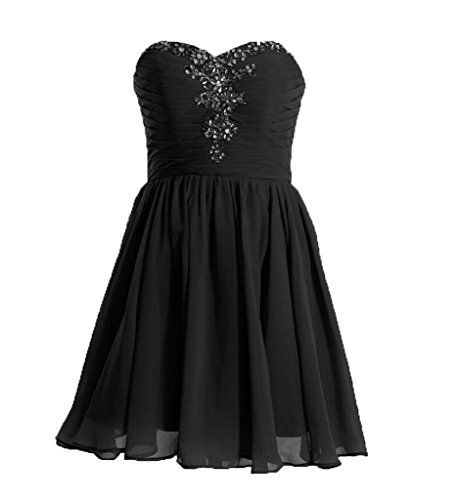 Black Chiffon Sweetheart Beading (NOVIA Women's Sweetheart Beading Lace Up Short Chiffon Homecoming Party Dresses US 2 Black)