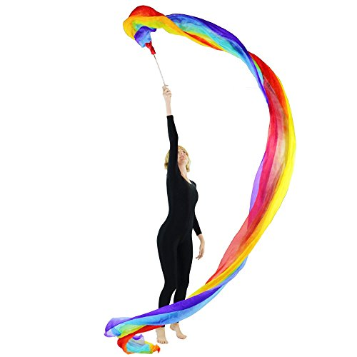 Danzcue Dance Rainbow Silk Worship Gym Rhythmic Art Ballet Flower Streamer(Rod included) (Flower Dance Streamer compare prices)