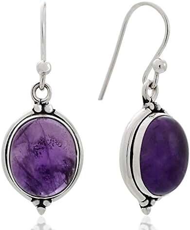 925 Oxidized Sterling Silver Natural Gemstone Oval Shaped Vintage Dangle Hook Earrings 1.3