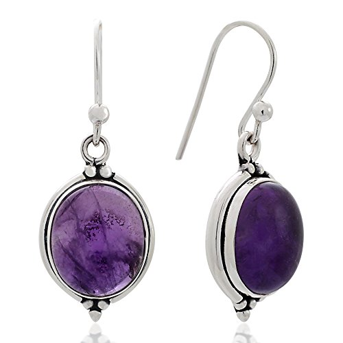 925 Oxidized Sterling Silver Purple Amethyst Gemstone Oval Vintage Dangle Hook Earrings 1.3