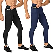 WRAGCFM Mens Compression Pants Workout Athletic Leggings Running Gym Tights with Pockets