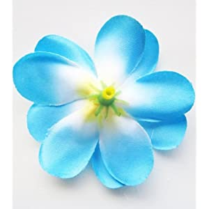 "(100) Blue Hawaiian Plumeria Frangipani Silk Flower Heads - 3"" - Artificial Flowers Head Fabric Floral Supplies Wholesale Lot for Wedding Flowers Accessories Make Bridal Hair Clips Headbands Dress 5"