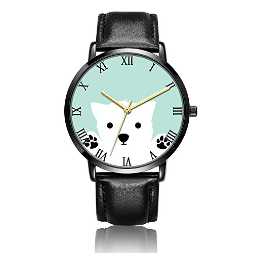 ONSPACE Unisex Women Classic Black Watches, Fashion Printed Designs Personalized Stainless Steel with PU Leather Strap Running Wrist Watch-Dog