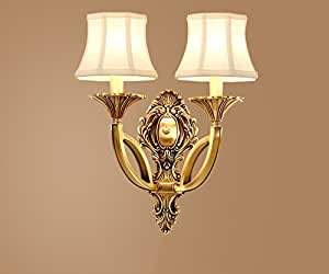 LIGHT- American Country Style Bedroom Living Room Wall Light Copper Light body cloth lampshade wall lamp ( Size : B )
